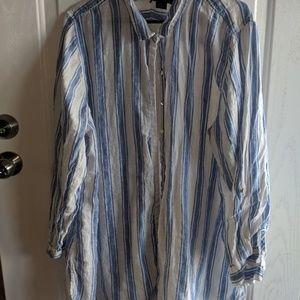 Tahari oversized button down shirt
